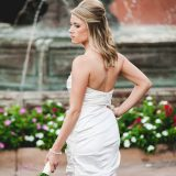 A bride holding her bouquet during her wedding in Scottsdale, Arizona, at the Marriot CamelBack Resort.