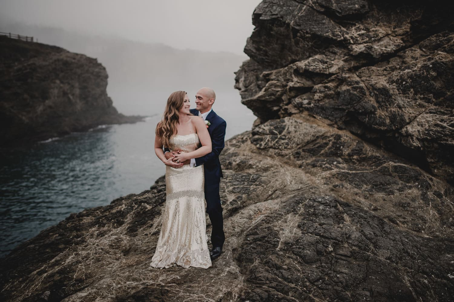 Destination wedding photography by the pacific ocean in Mendocino, California.