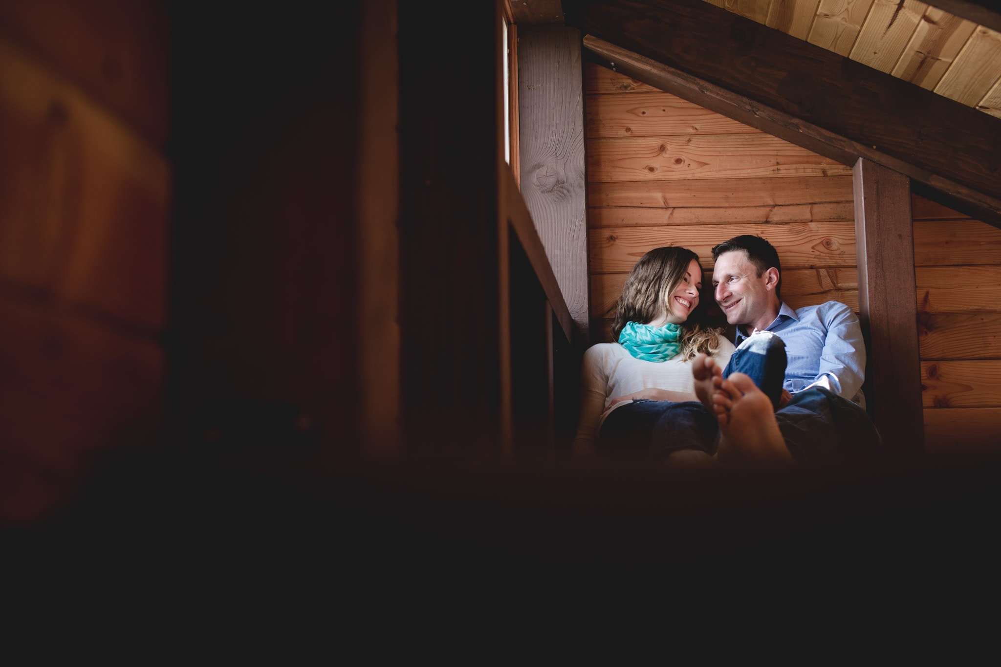 Adventurous engagement photography in a cabin on a mountain on the oregon coast.