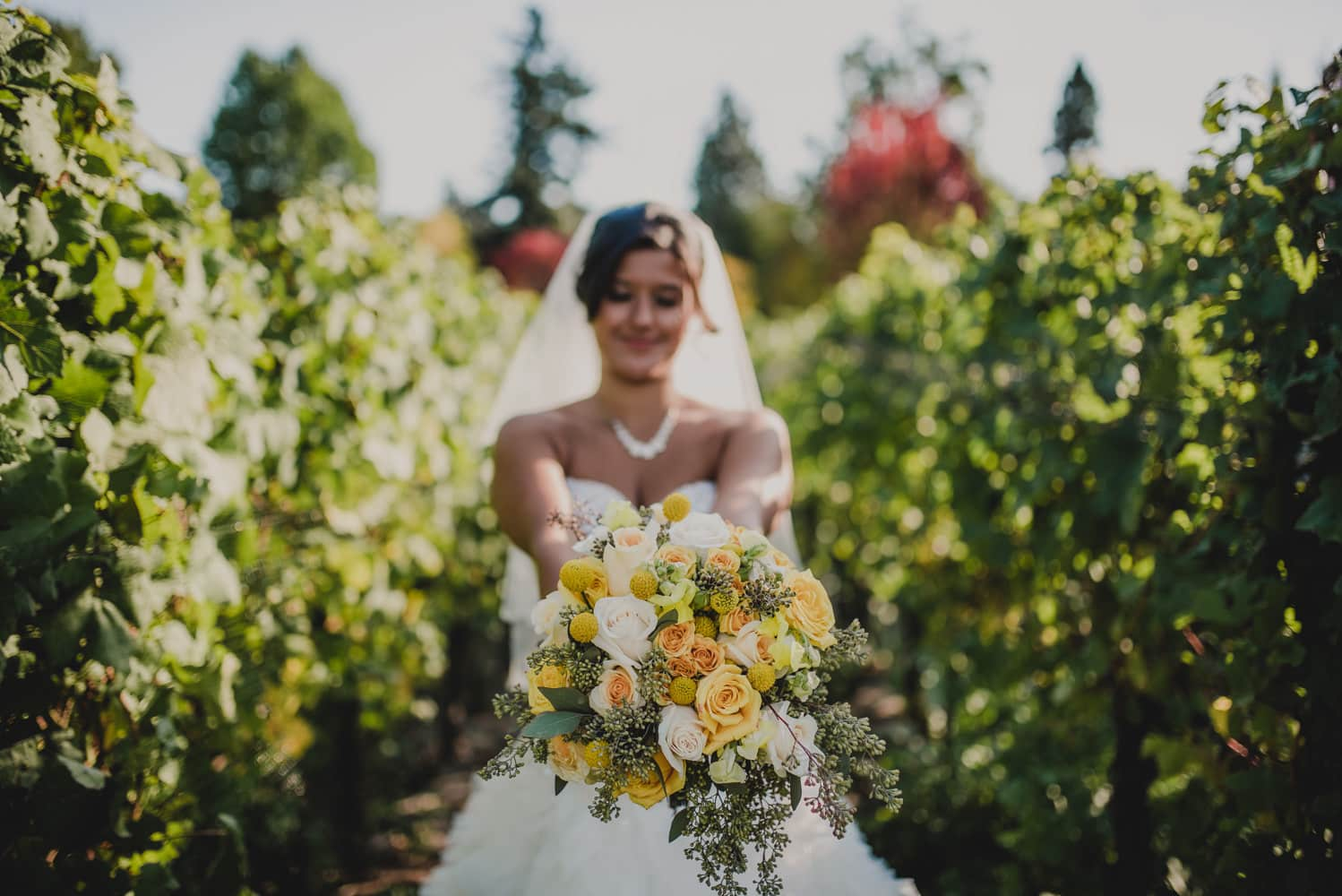 Photography of a bride holding her bouquet in a vineyard during her wedding at McMenamins Edgefield in Portland, Oregon.