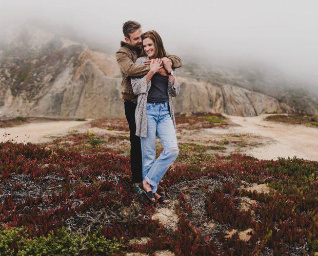 Montara Beach adventure engagement session by San Francisco wedding photographer