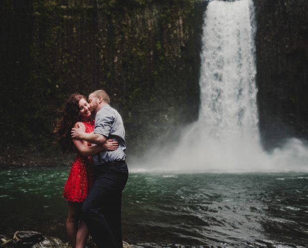 Abiqua Falls Waterfall Engagement Session Photography