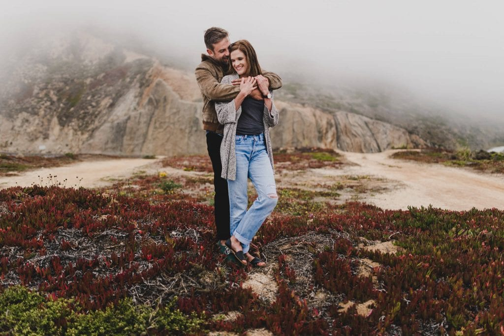 Montara Beach adventure engagement session by San Francisco wedding photographer