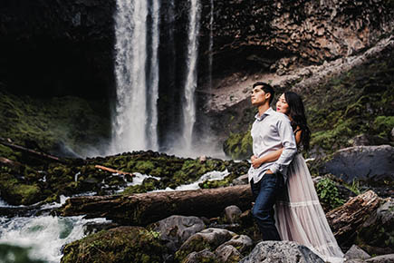 Mt Hood Waterfall Engagement Session