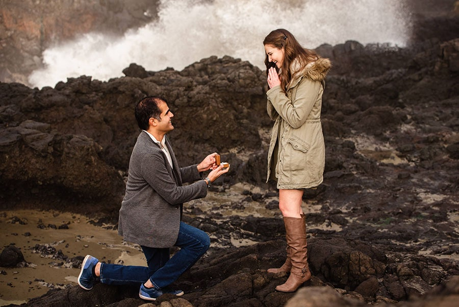 A surprise proposal on the Oregon Coast in Yachats at Devil's Churn.